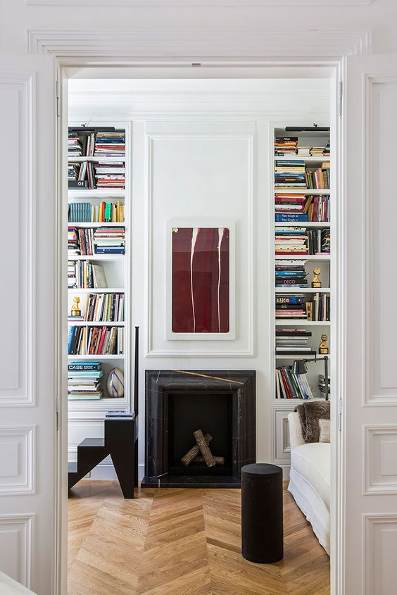 surround fireplace with books