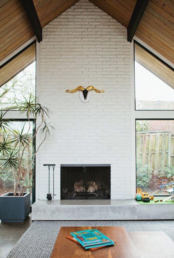 white brick fireplace surrounds