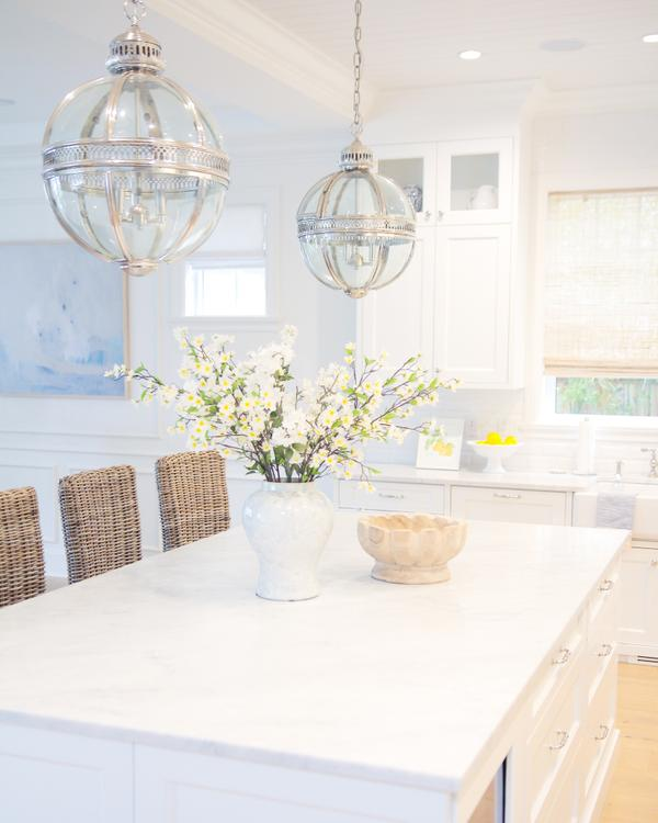 white on white Hamptons dining room
