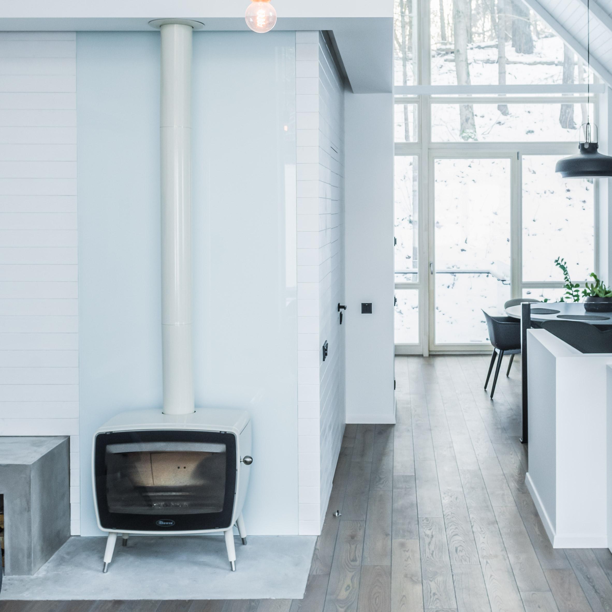white retro woodburner