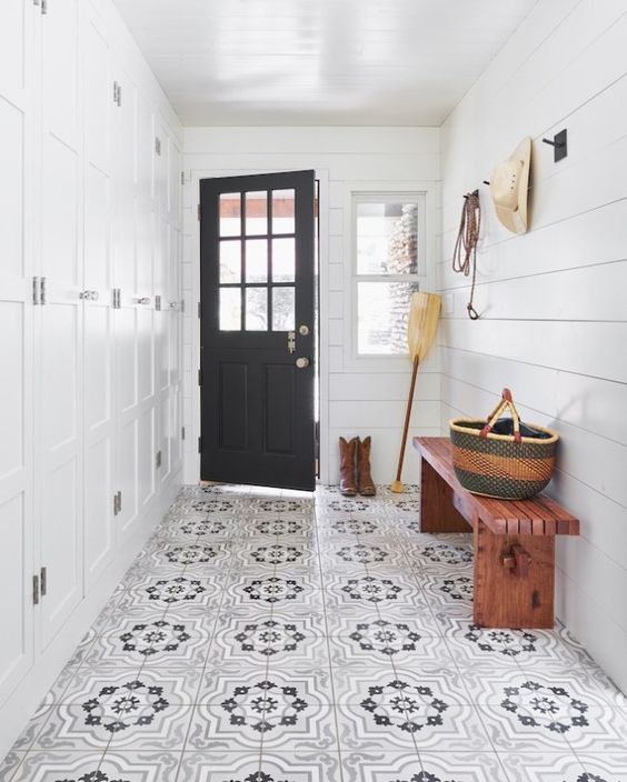 white with black door