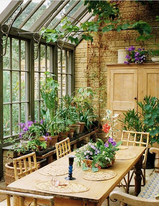wood and brick conservatory