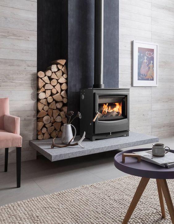 woodstack surrounding fireplace
