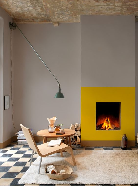 yellow painted fireplace
