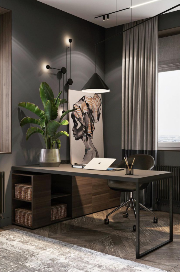 Grey modern home office