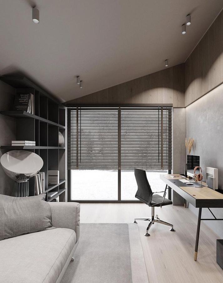 Grey minimalist home office