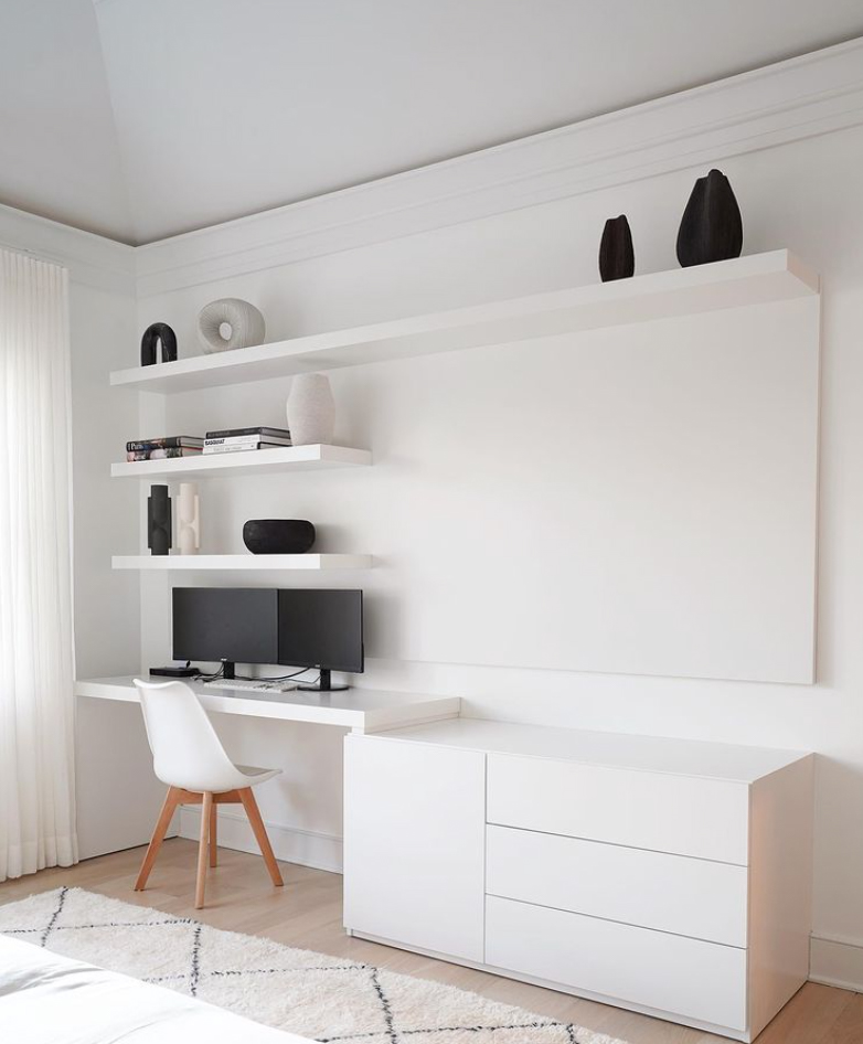 White home office in bedroom
