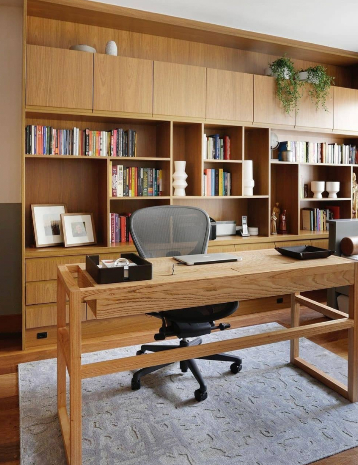 home office with timber custom cabinetry