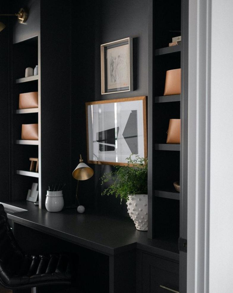 Black modern home office