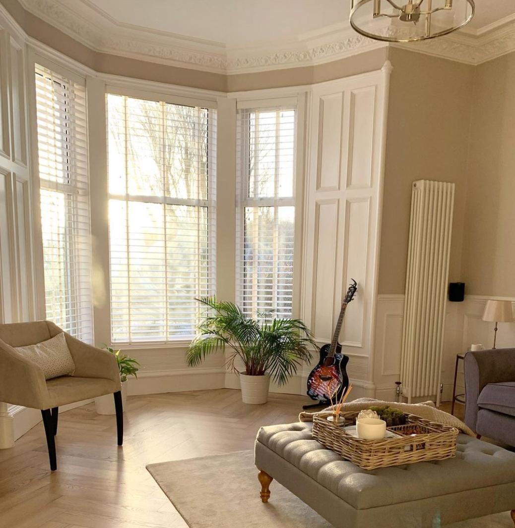 classic bay window in living room