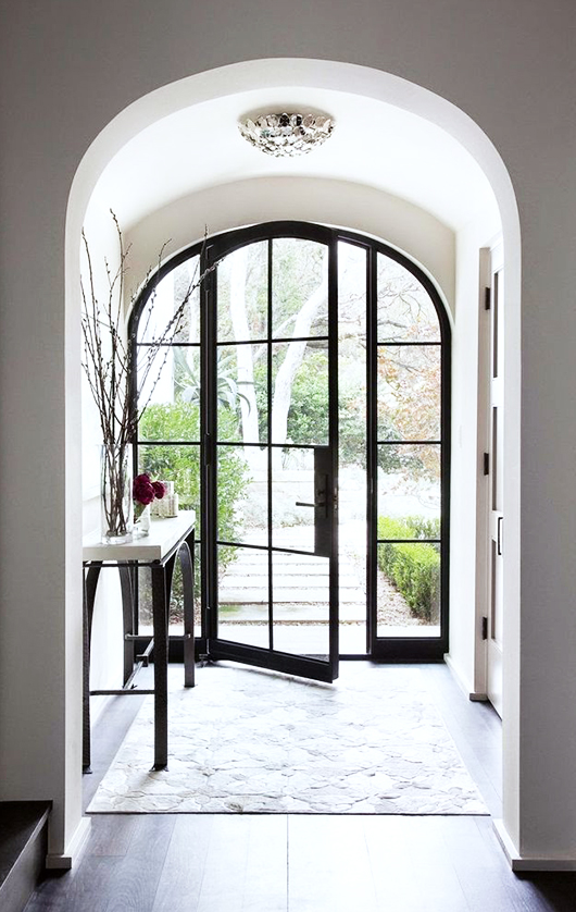 arched steel and glass front door ideas