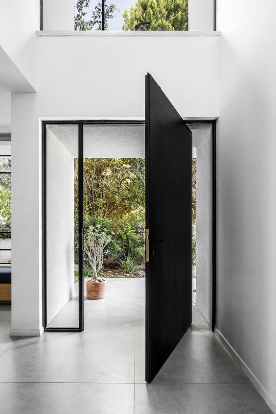 black and white front door
