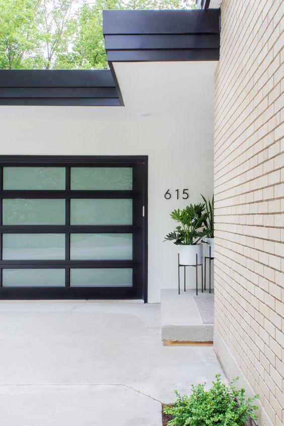 black trim glass garage
