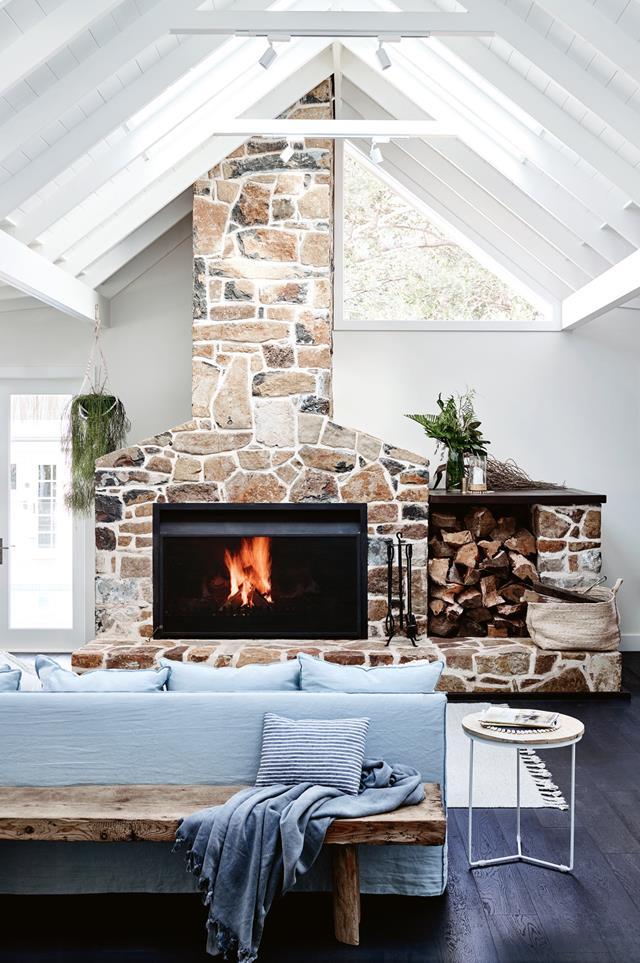 basalt stone farmhouse fireplace