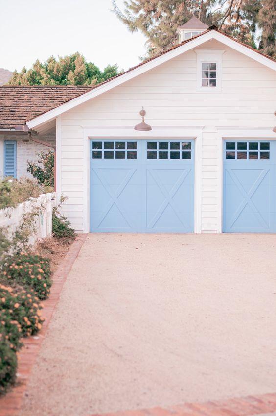 cottage blue garage doors
