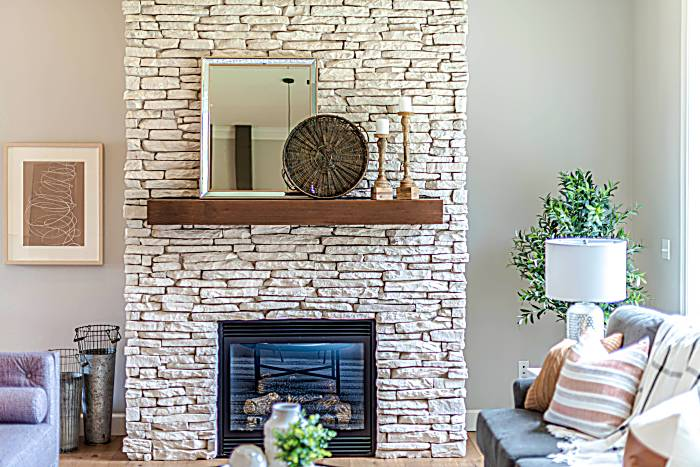 stone tile fireplace