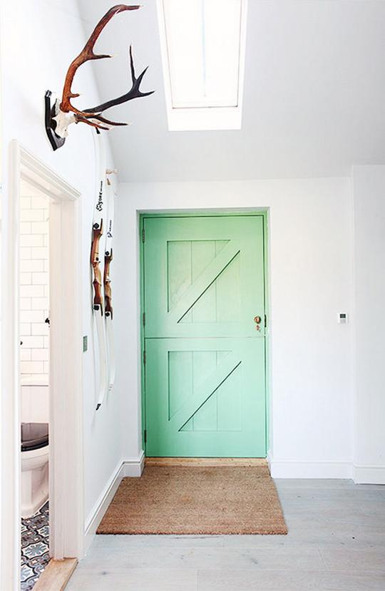 minty coloured front door