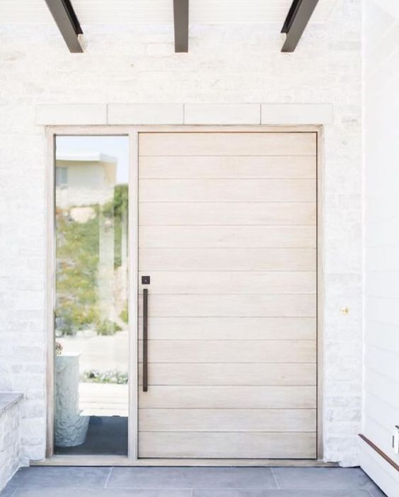 pale wood front door ideas