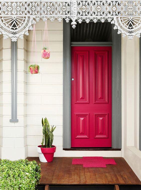 pink grey white front door ideas