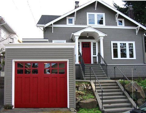 red painted garage door