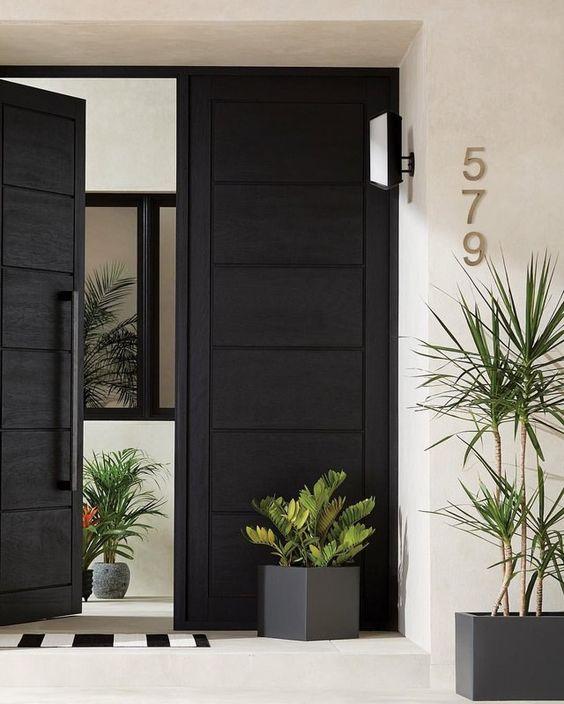 solid black front door