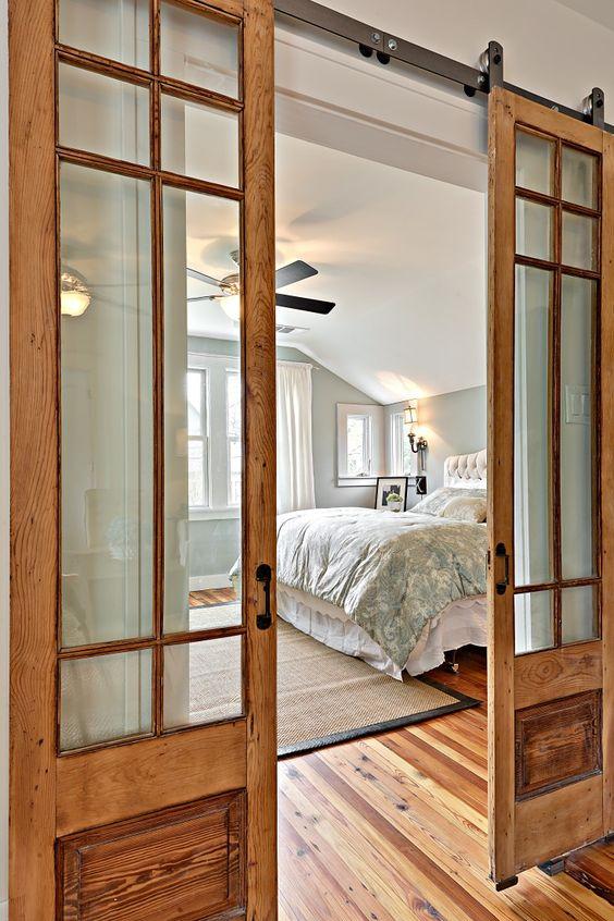 timber and glass barn doors