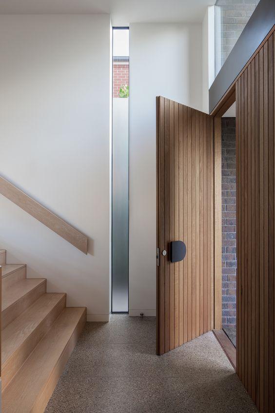 timber and minimalist front door