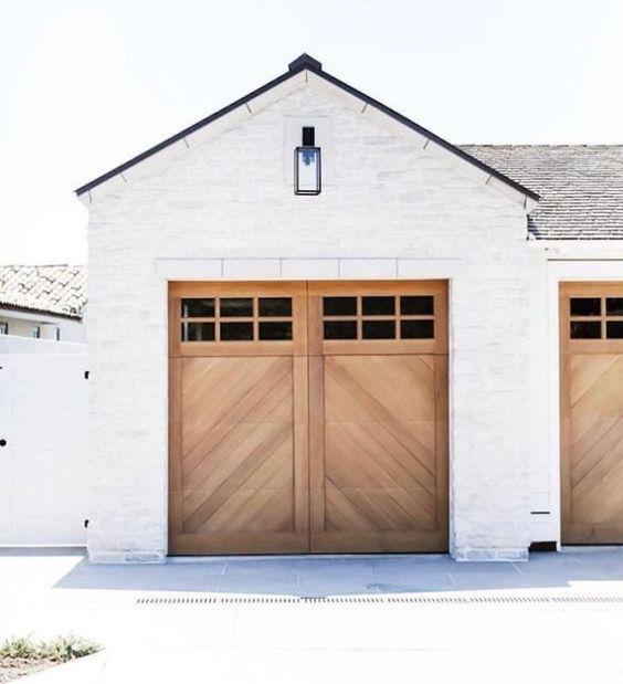 timber herringbone garage doors