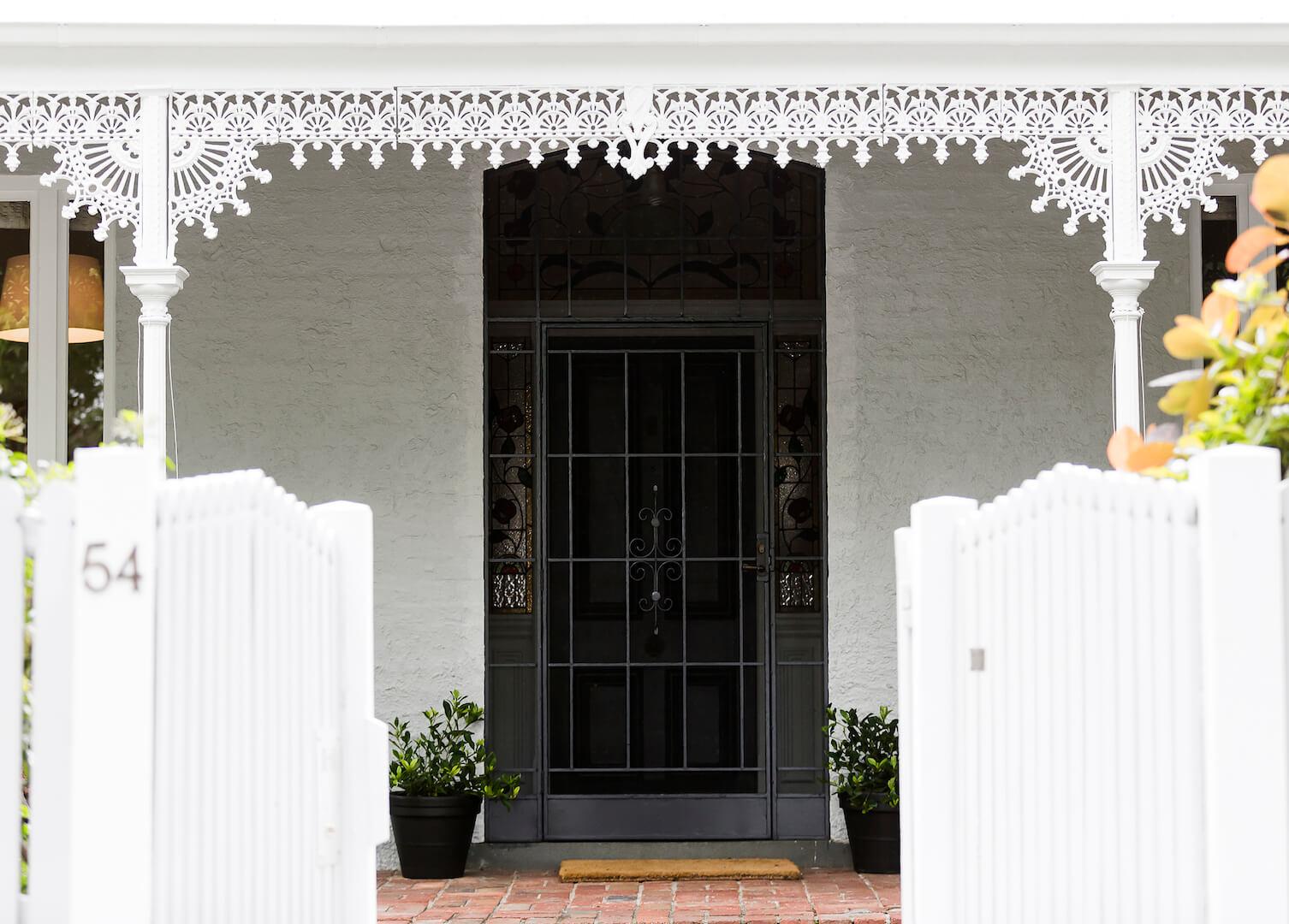 victorian with black door