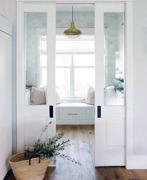 white rectangular pocket doors
