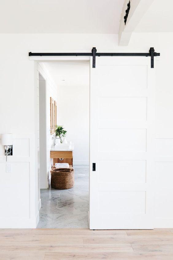 white sliding barn door