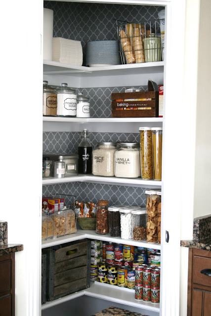 organised pantry with storage jars