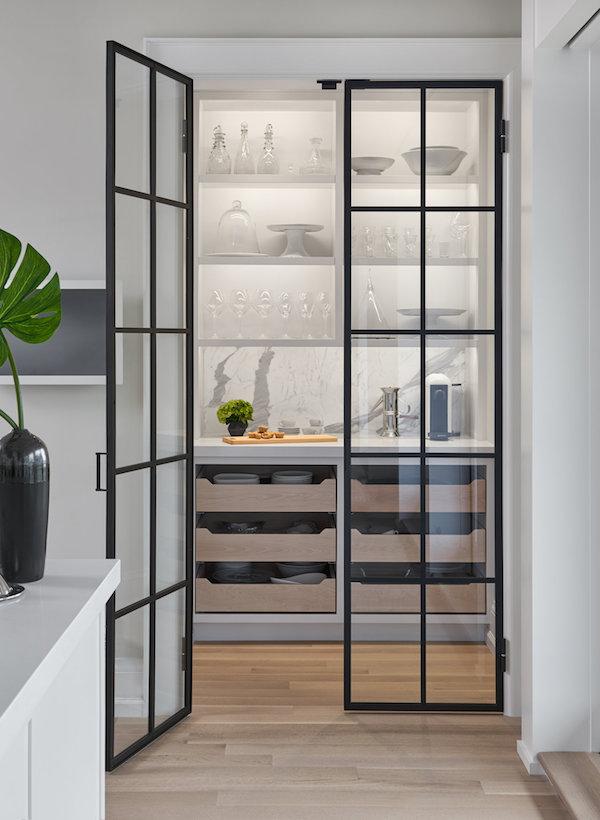 Black steel with glass internal door in kitchen pantry