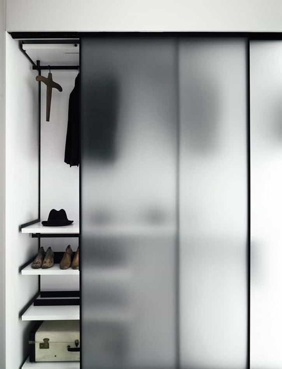 black and frosted glass wardrobe door ideas