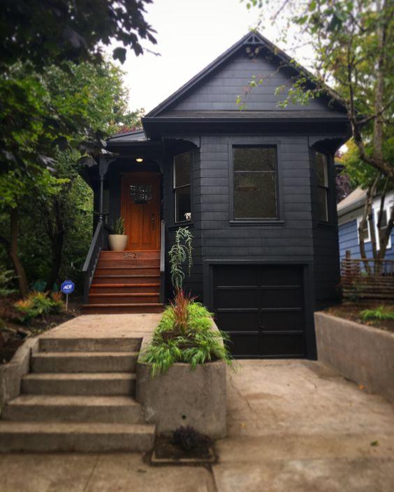 black on black garage door ideas