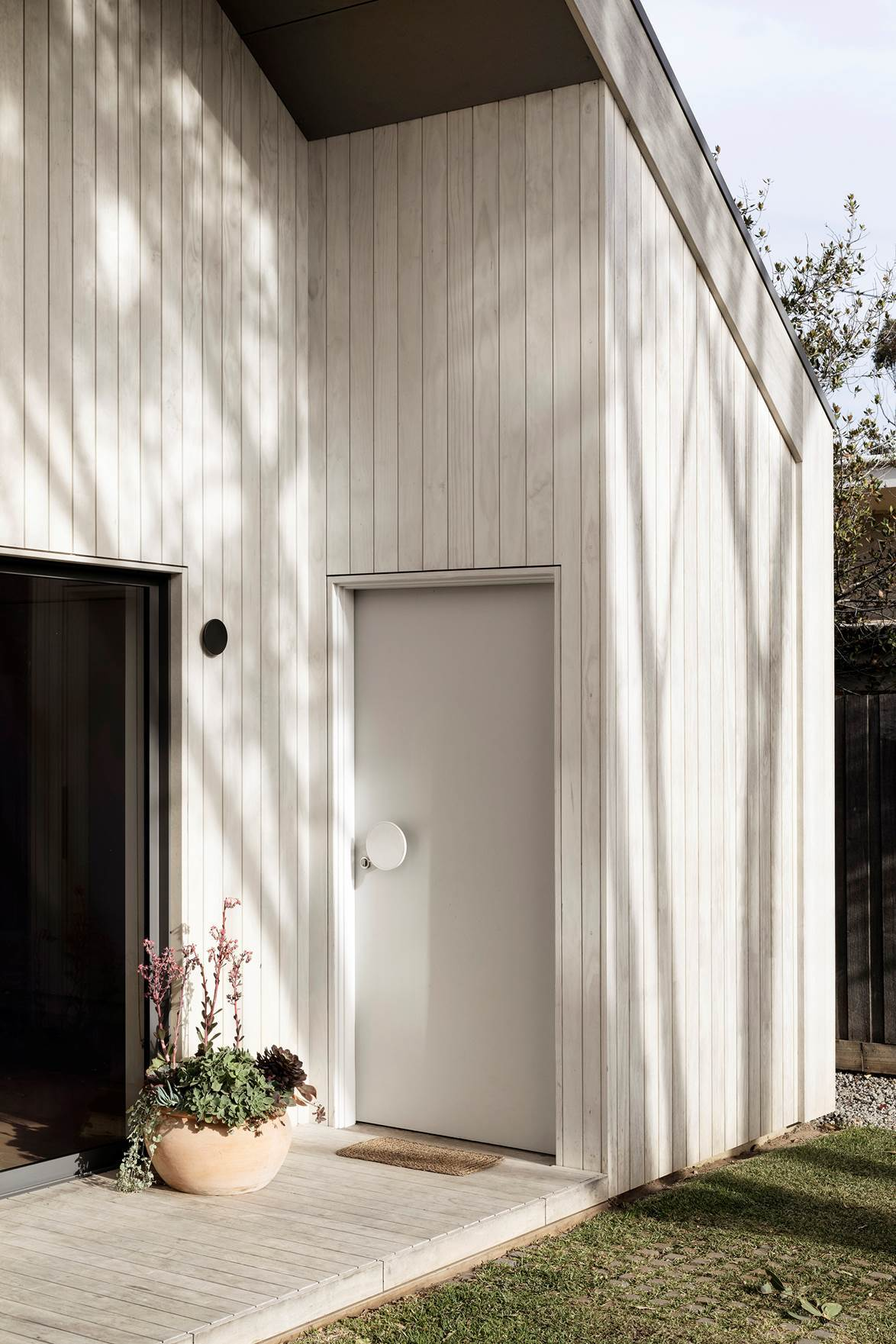contemporary white timber door