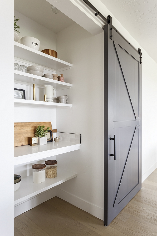 modern barn kitchen pantry door