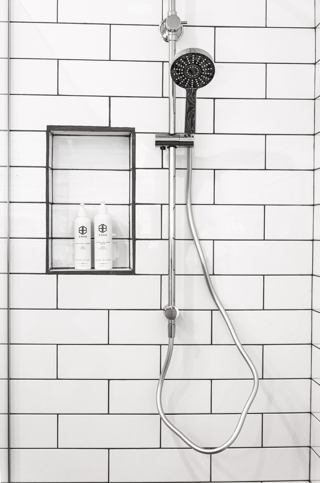 A white tiled shower