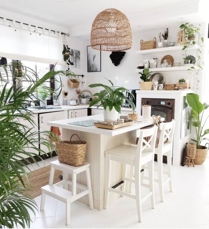 rattan decor items in a white kitchen