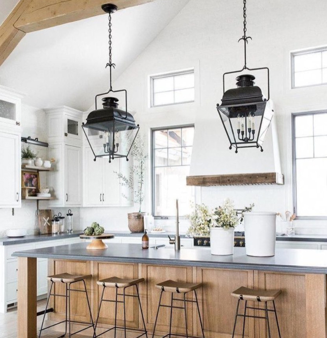 high ceiling in kitchen with exposed beams