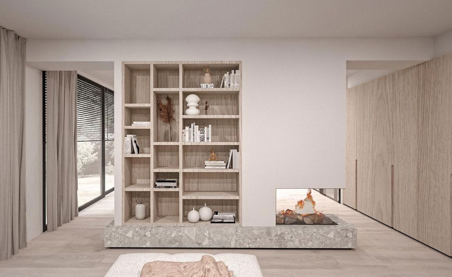 custom Room divider bookcase and fireplace