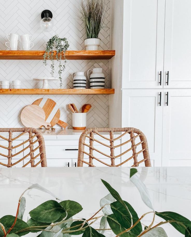 herringbone kitchen splashback in a boho kitchen