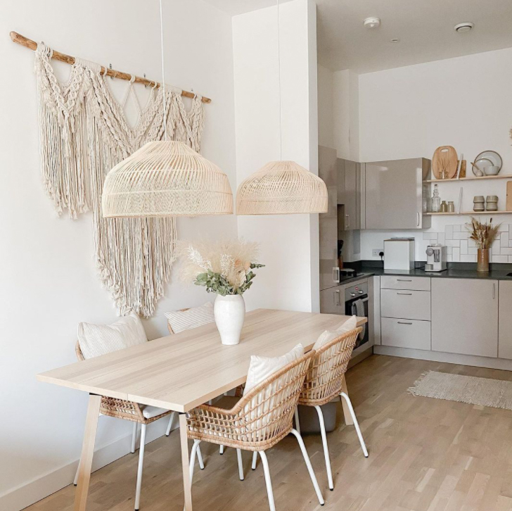 Macrame wall hanging  in kitchen