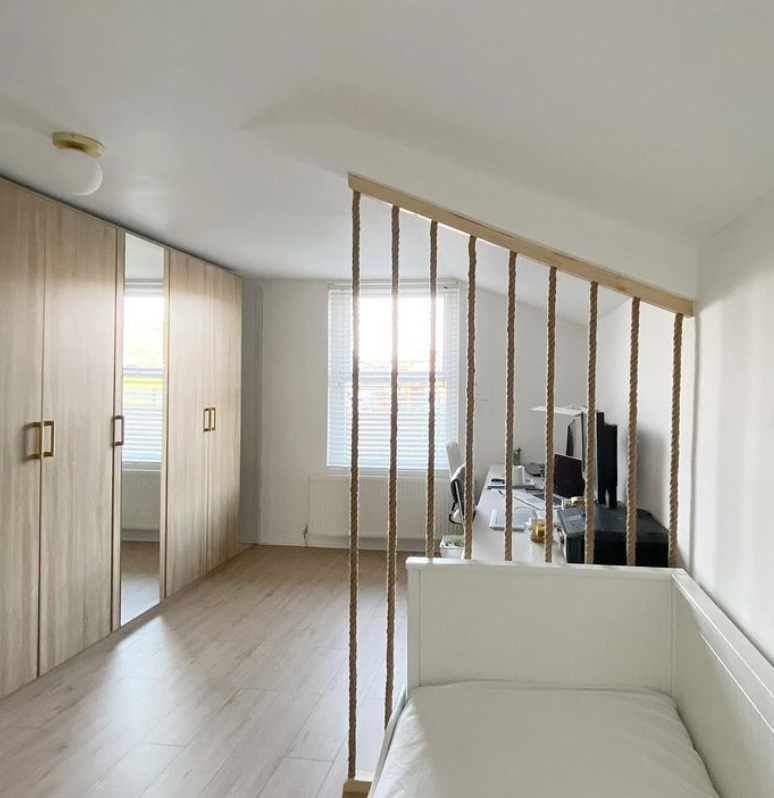 Room divider made with rope