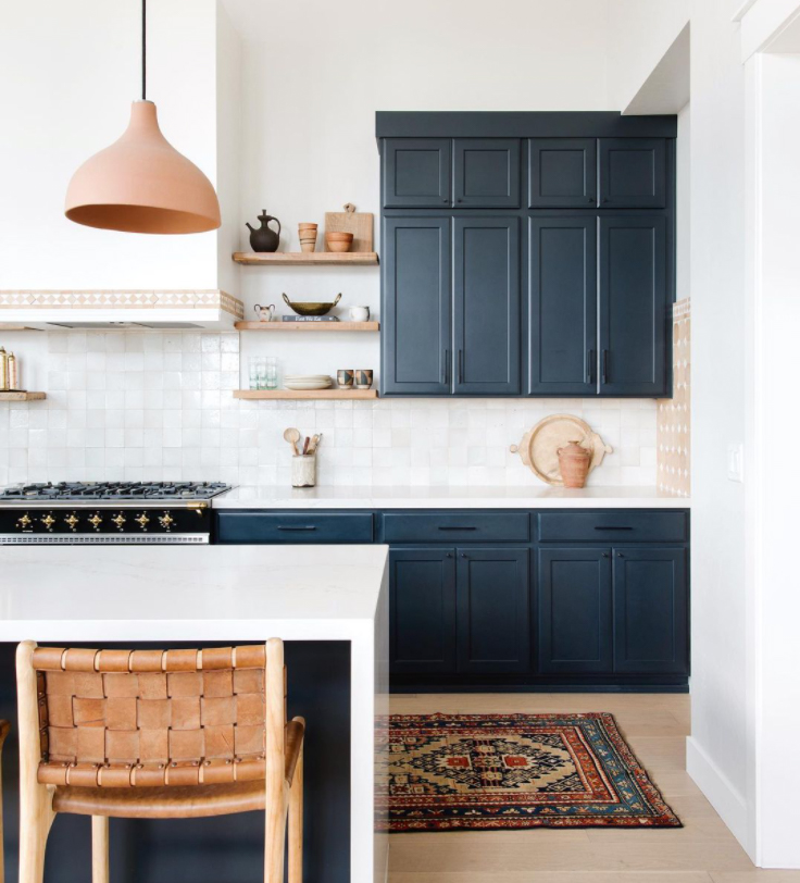 navy and white kitchen with a bohemian kitchen style