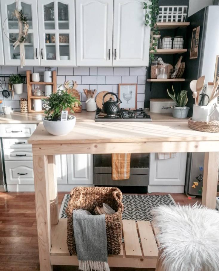 timber kitchen island bench