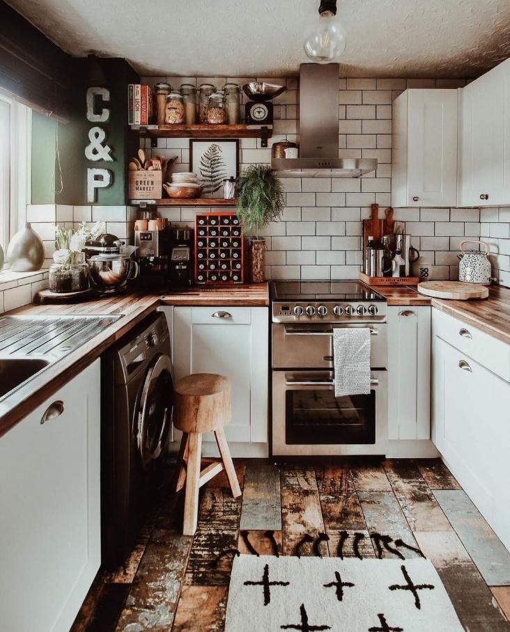 small rustic boho kitchen