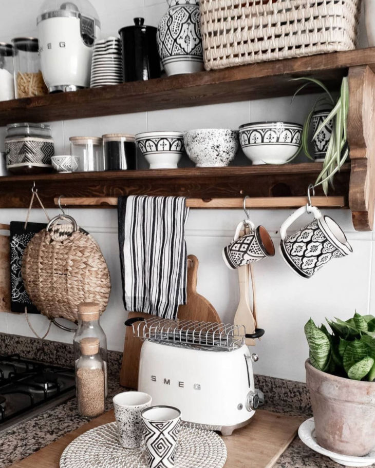 monochrome Kitchen with timber