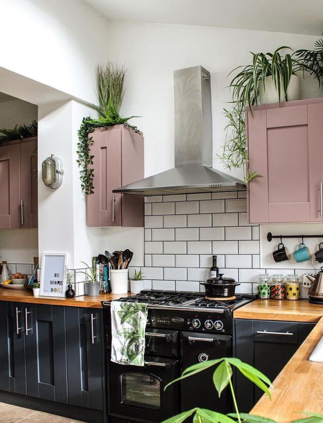 pink and black boho kitchen