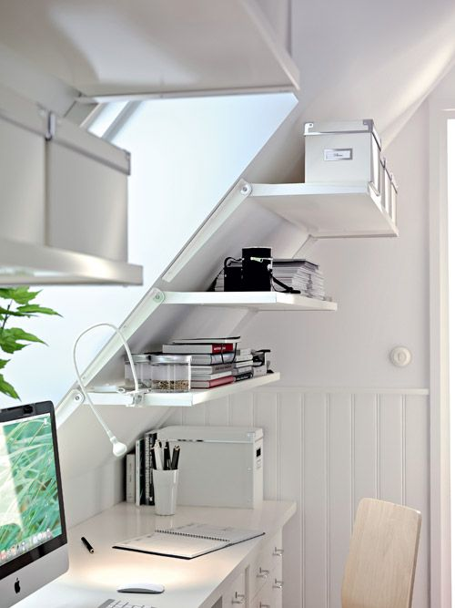 angled loft shelving